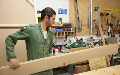 Alex from Goldfinger Factory working on his current project.