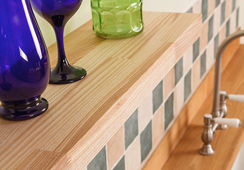 Ash worktops and ash floating shelves are a fantastic alternative to classic oak wooden counter.