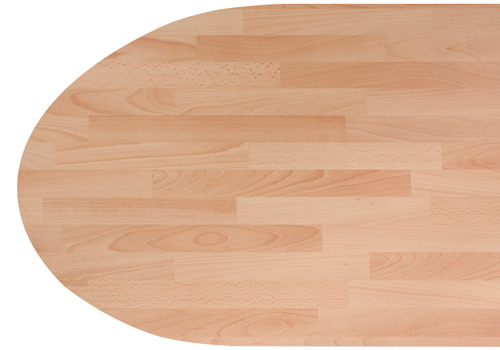 Beech block laminate worktops like this one look great with a radius end.