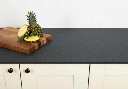 Black granite solid laminate worktops are a beautiful option for any kitchen.