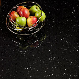 Square edge black Andromeda laminate worktops are the popular choice in Leeds.