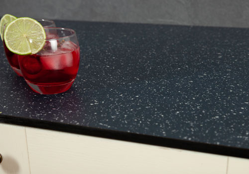 Black sparkle solid laminate worktops are a stylish choice for any home.