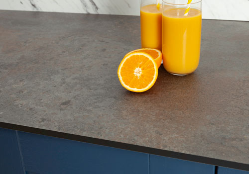 Caldeira Zenith worktops feature a selection of grey tones, giving it a similar appearance to concrete or slate.