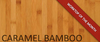 Caramel bamboo worktop with irregular cut out, hob and sink cut outs Solid Worktop Surface