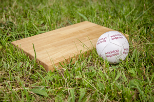 Solid wood chopping board and mini Worktop Express football