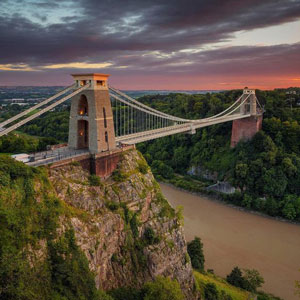 The awesome Clifton Suspension Bridge spans Avon Gorge and the River Avon.