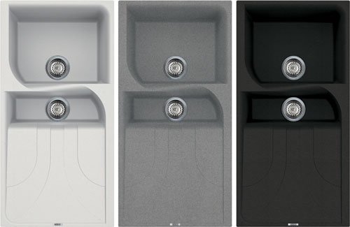 Reginox quartz sinks have the appearance of stone and are available in three beautiful colours – black grey and cream.