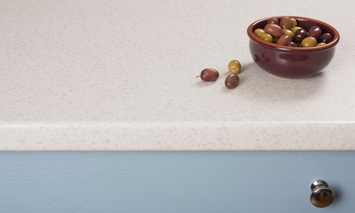 With a beautiful white stone-effect surface, Duropal Glacial Storm worktops are a popular choice with our customers.