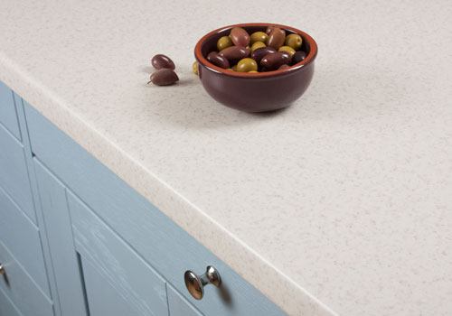 Glacial Storm worktops have a beautiful white stone-effect surface