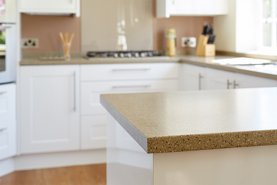 This Earthstone worktop has been cut to size to form a worktop on this kitchen peninsula.