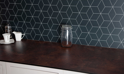 With a bold geometric pattern, this splash back is perfect in a contemporary kitchen.