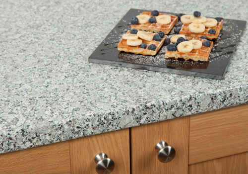 Granite effect laminate worktops have detailed patterns that emulate authentic granite.