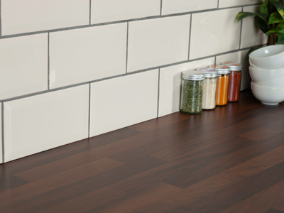 Black walnut block laminate worktops can be easily cleaned if super glue is spilt on them.