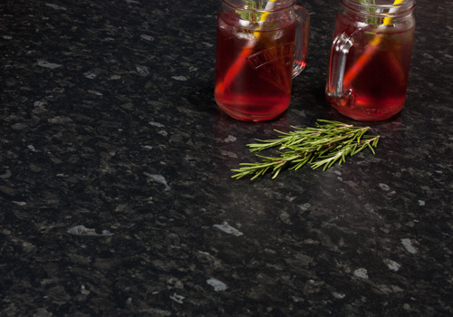 Black granite laminate worktops have a beautiful colour and pattern.
