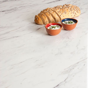White Calcutta Marble laminate worktops are a popular choice in Glasgow.