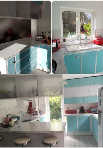 This image showcases our marble laminate worktops in a kitchen fully fitted by a customer's dad!