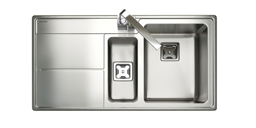 Overmount stainless steel sinks, such as Rangemaster's Arlington square single bowl kitchen sink with left-hand drainer, are ideal for an Earthstone worktop in a contemporary kitchen.