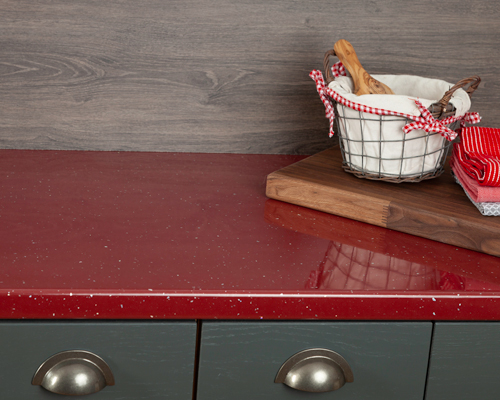 Red sparkle worktops add a bold statement to any kitchen.