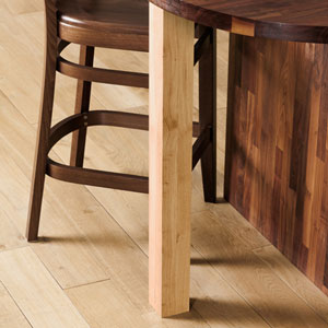 A sanded solid oak breakfast bar leg, ready to finish in the style of your choosing.