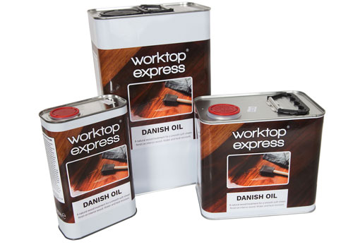 Worktop Express Danish oil for worktops is available in 1L, 2.5L and 5L canisters.