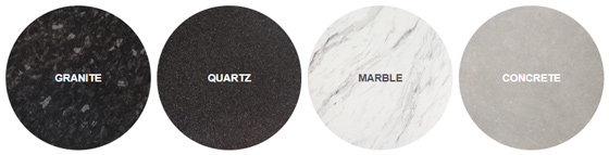Shop by style - including granite, quartz, marble and concrete