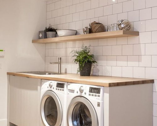 Worktops fitted above washing machines, dishwashers and tumble driers need to be protected with a moisture barrier.