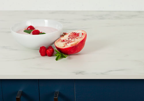 Marble effect solid laminate worktops offers many of the benefits of a stone surface but are easier to look after and install.