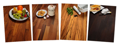 Solid wood worktop samples