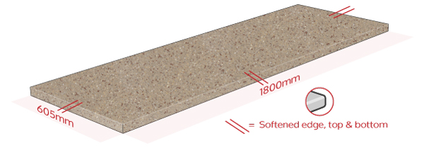 Coffee Earthstone Work Surface Dimensions