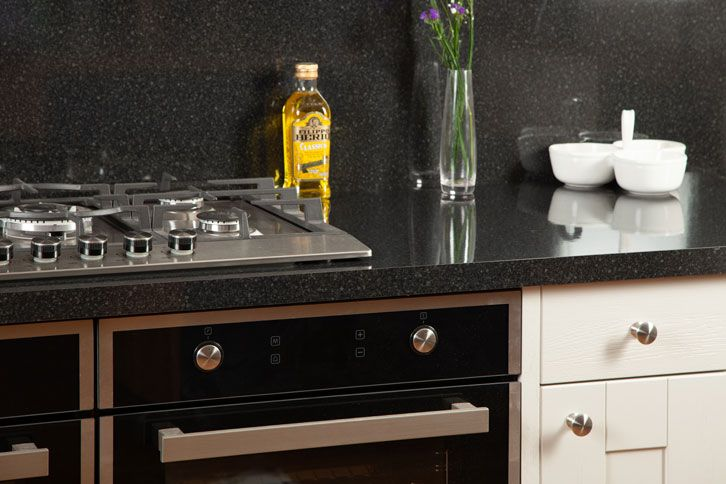 Black Gloss Laminate Worktop with Sink