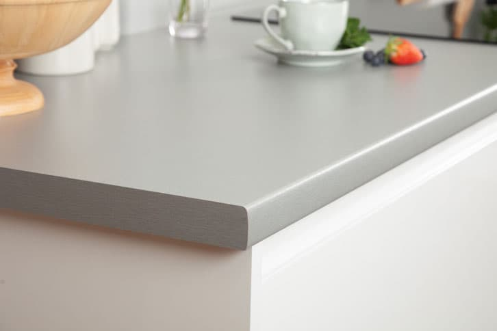 Brushed Stainless Steel Effect Laminate Worktop Corner