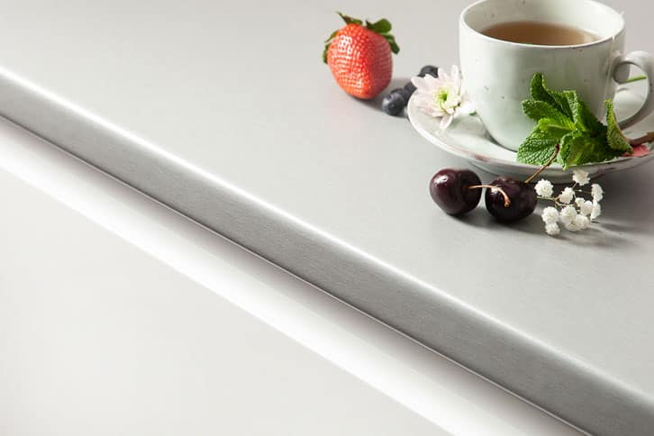 Brushed Stainless Steel Effect Laminate Worktop Edge