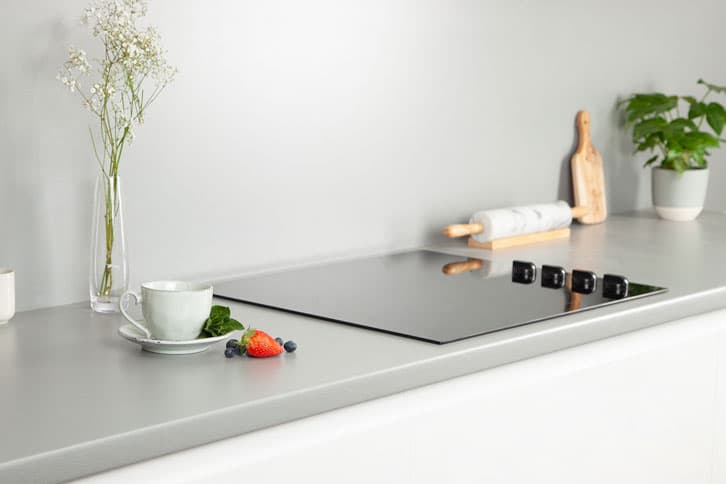 Brushed Stainless Steel Effect Laminate Worktop with Sink