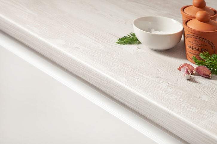Cascina Pine White Wood Laminate Worktop Edge