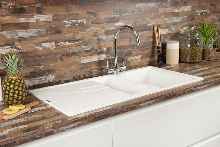 Sealand Pine - Driftwood Laminate Worktop with Sink