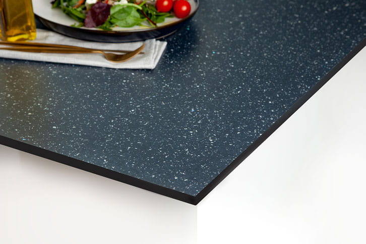 Black Sparkle Solid Laminate Worktop Corner