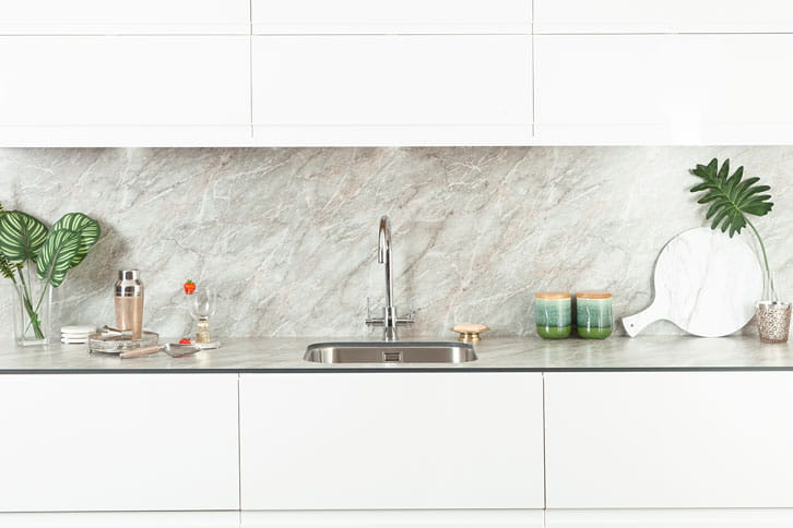 Grey Marble effect Kitchen Island