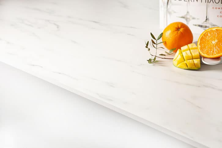 White Marble Solid Laminate Worktop Edge