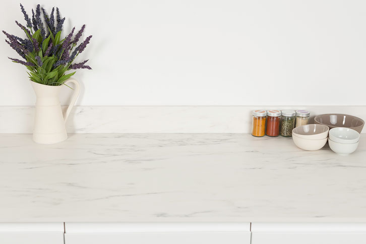 White Marble Solid Laminate Worktop Surface