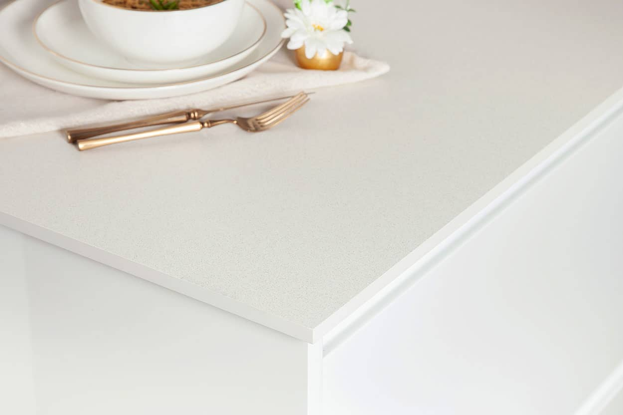 White Quartz Solid Laminate Worktop 3000mm X 645mm X 12mm