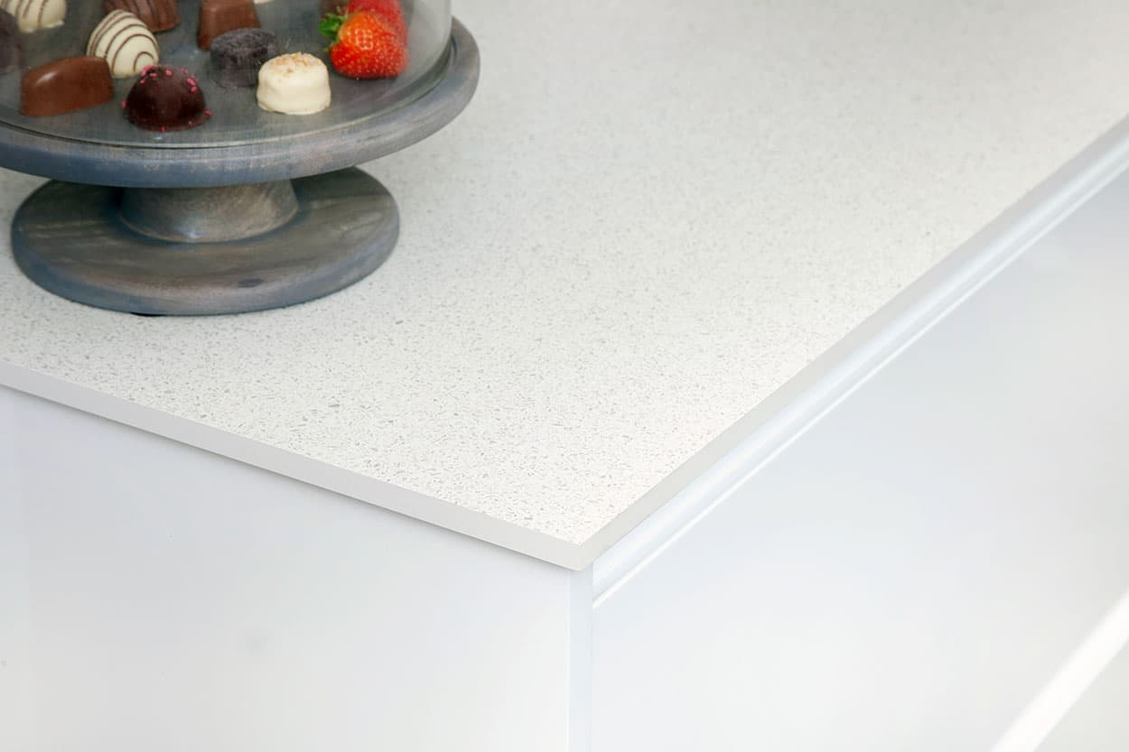 White Terrazzo Solid Laminate Worktop 3000mm X 950mm X 12mm
