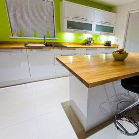 Prime Oak worktops and Prime Oak kitchen island