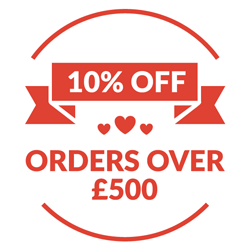 10% off Orders Over £500 until February 15th.