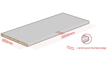 Our 3000mm laminate worktops have one post-formed edge that act as a drip barrier and prevent water ingress.