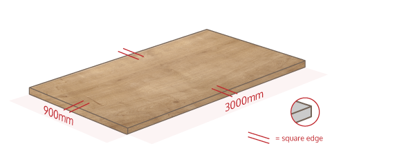 Arlington Oak Work Surface Dimensions