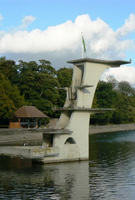 Art deco diving board, Coate Water Country Park Swindon solid wood worktops.