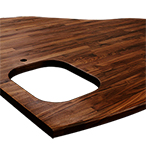 Black American walnut 1623mm wide bespoke worktop with undermounted sink cut out, tap hole cut out and chamfer edge profile