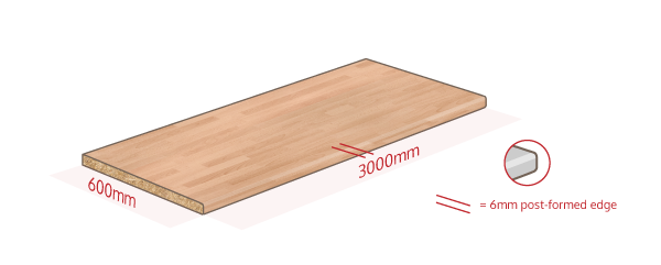 Beech Laminate Work Surface Dimensions