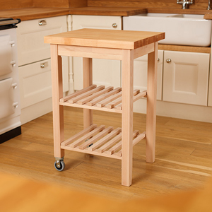 Our brand new lacquered beech kitchen trolleys come with a solid beech worktop wooden counters.