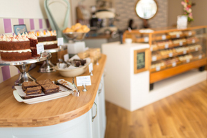 Bamboo work surfaces are highly water-resistant, and make the perfect worktop for Edinburgh's Cuckoo's Bakery.